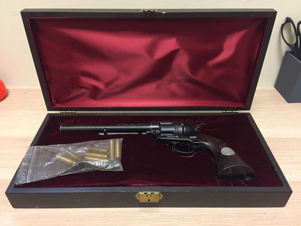 NRA Award Colt Single Action Army .45 Pellet BB Gun - RARE In Wood Box