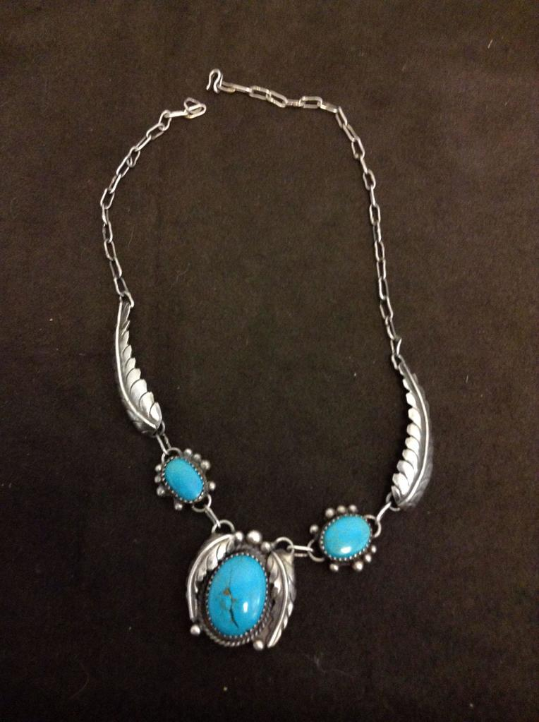 "Old Pawn Native American Styled Sterling Silver 18"" Necklace w/ Three Oval Turquoise Cabochons-25"