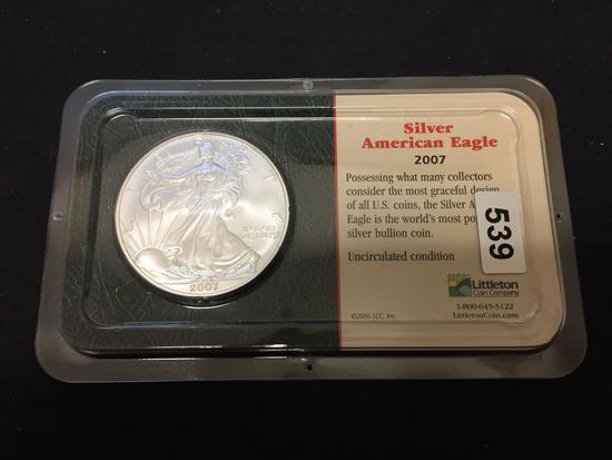 2007 United States 1 Ounce .999 Fine Silver American Eagle Silver Bullion Round Coin