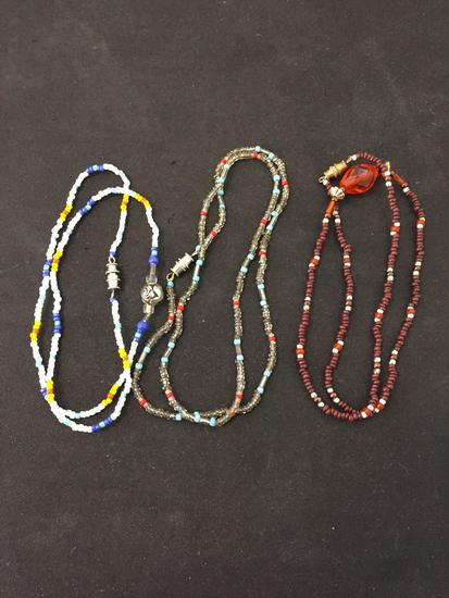 Lot of Three Hand-Crafted Old Pawn Native American Styled Beaded Necklaces - Various Length