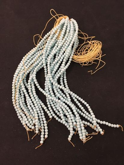 """Lot of Twenty-Three 7"""" Strands of Matched 3.5mm Baby Blue Beads"""