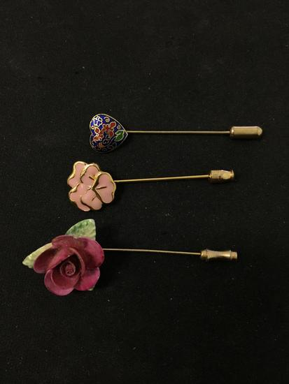 """Lot of Three Floral Motif 2.5"""" Long Gold-Tone Alloy Fashion Hat Pins"""
