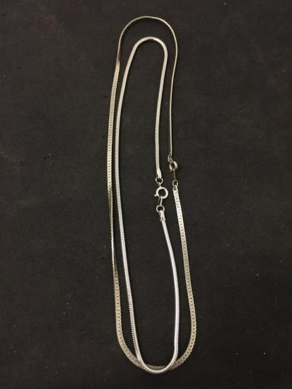 """Lot of Two Silver-Tone Alloy 16"""" Chains, One Herringbone & Snake Link"""