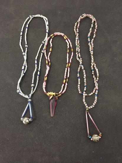 Lot of Three Various Length & Color Hand-Crafted Old Pawn Native American Styled Beaded Necklaces