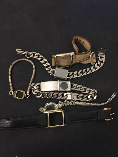 Lot of Six Various Size & Styled Watch Bracelets & Casings, Three Stainless Steel & Three Leather
