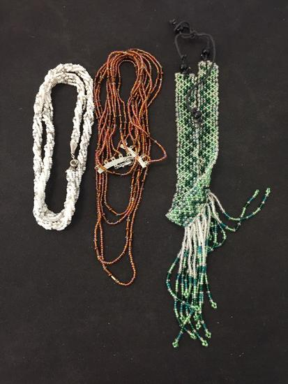 Lot of Three Multi-Strand Various Length & Color Hand-Crafted Old Pawn Native American Styled Beaded