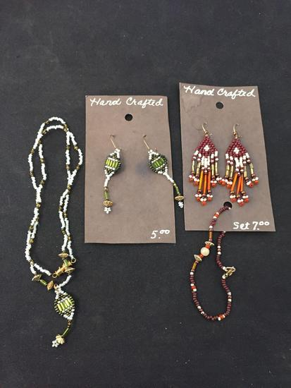 Lot of Two Matched Sets Necklaces & Earrings Hand-Crafted Old Pawn Native American Styled Beaded
