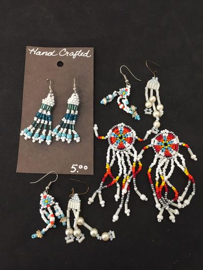 Lot of Four Matched Pairs of Hand-Crafted Old Pawn Native American Styled Beaded Chandelier Earrings