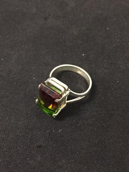 New! Gorgeous Bi-Color Tourmaline Rubellite & Peridot Colors Sterling Silver Ring Band-Size 6.5 SRP