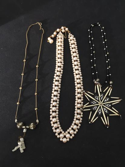 Lot of Three Various Length, Color & Styled Beaded Necklaces