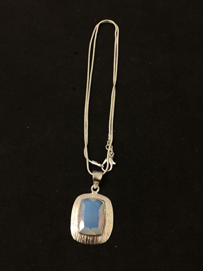 """New! Amazing Faceted Opalite Textured Detail 1.75"""" Sterling Silver Pendant w/ 18"""" Chain SRP $ 49"""
