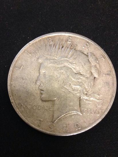 1922-S United States Peace Silver Dollar - 90% Silver Coin from Collection