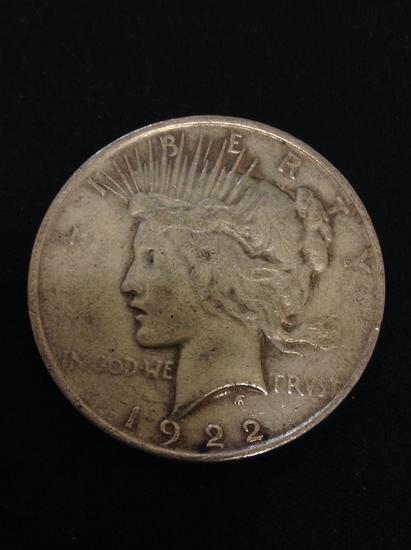 1922 United States Peace Silver Dollar - 90% Silver Coin from Collection