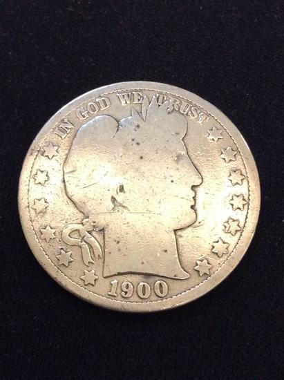1900 United States Barber Silver Half Dollar - 90% Silver Coin from Collection