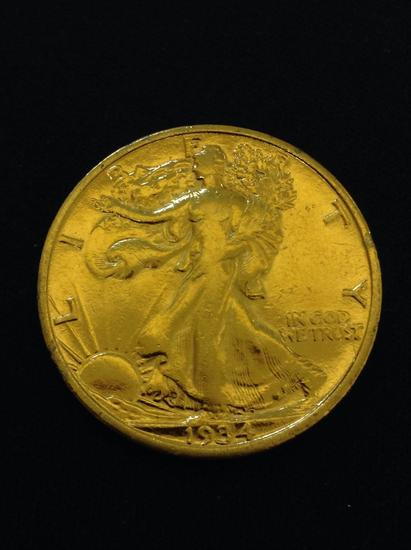 Gold Plated 1934 United States Walking Liberty Silver Half Dollar - 90% Silver Coin from Collection