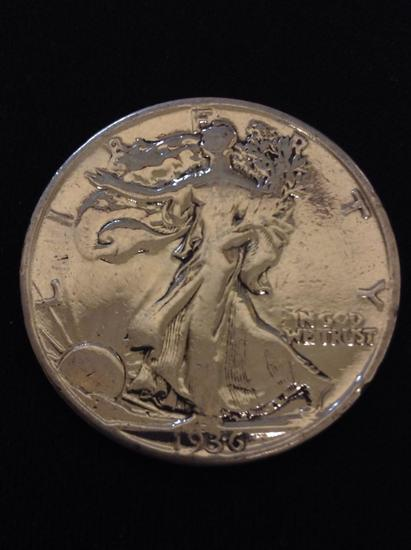 1936 United States Walking Liberty Silver Half Dollar - 90% Silver Coin from Collection