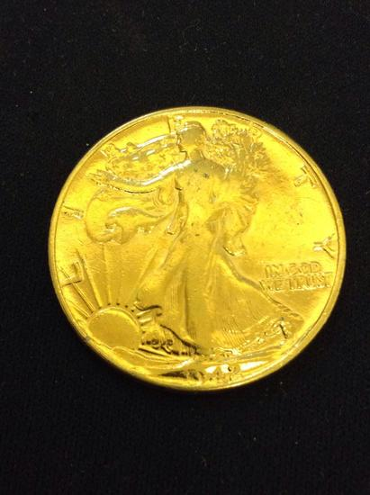 Gold Plated 1942 United States Walking Liberty Silver Half Dollar - 90% Silver Coin from Collection