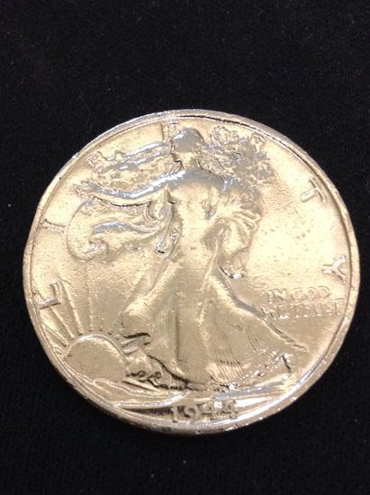 1944-S United States Walking Liberty Silver Half Dollar - 90% Silver Coin from Collection