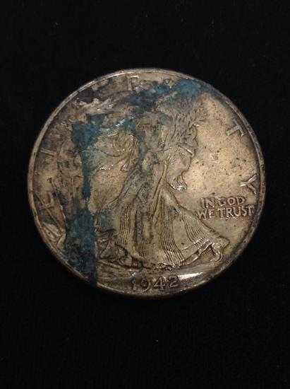 1942 United States Walking Liberty Silver Half Dollar - 90% Silver Coin from Collection