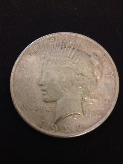1922-D United States Peace Silver Dollar - 90% Silver Coin from Collection