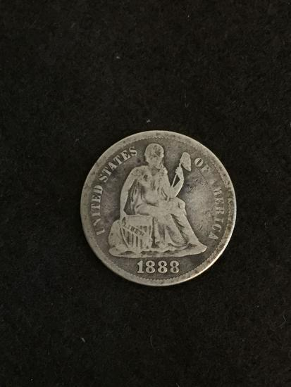 RARE KEY DATE 1888 United States Seated Liberty Dime - 90% Silver Coin