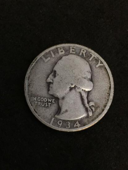 1934 United States Washington Quarter - 90% Silver Coin