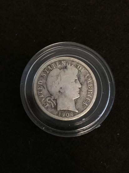 1906 United States Barber Dime - 90% Silver Coin