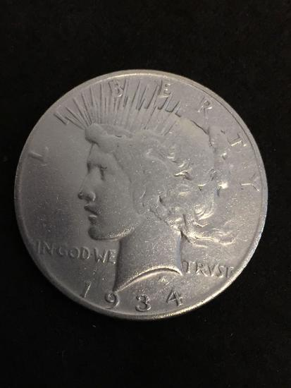 Key Date! 1934-S United States Peace Silver Dollar - 90% Silver Coin