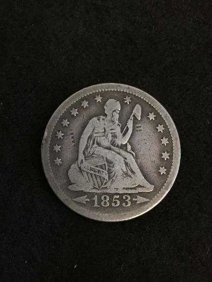 PRE-CIVIL WAR NICE CONDITION 1853-O United States Seated Libery Quarter - 90% Silver Coin