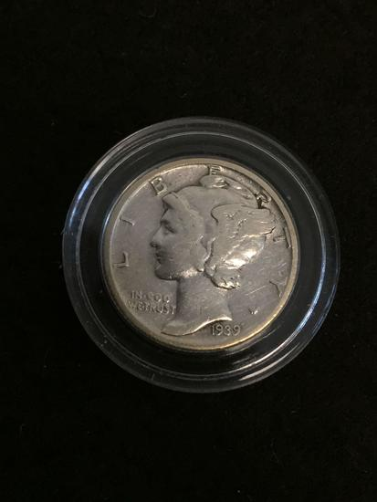 1939 United States Mercury Dime - 90% Silver Coin