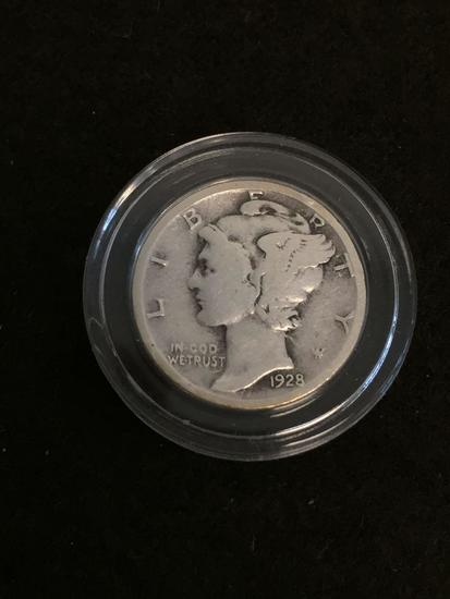 1928 United States Mercury Dime - 90% Silver Coin