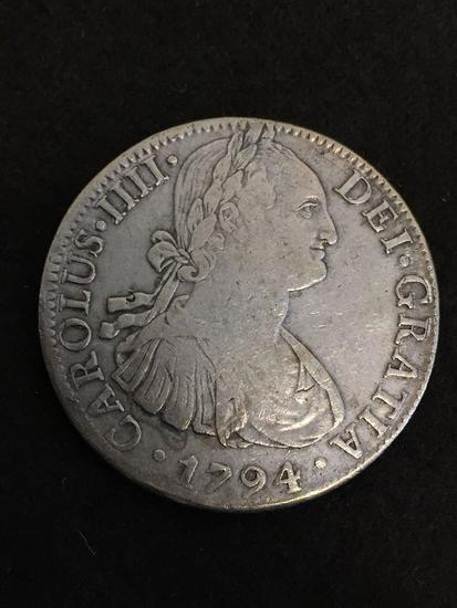 AMERICA'S FIRST SILVER DOLLAR - Spain 1794 Piece of Eight - 90% Silver RARE VG