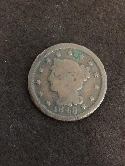 RARE 1848 United States Large Cent Penny