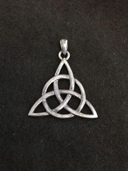 Triangular Celtic Knot Styled 30x30x30mm Sterling Silver Pendant