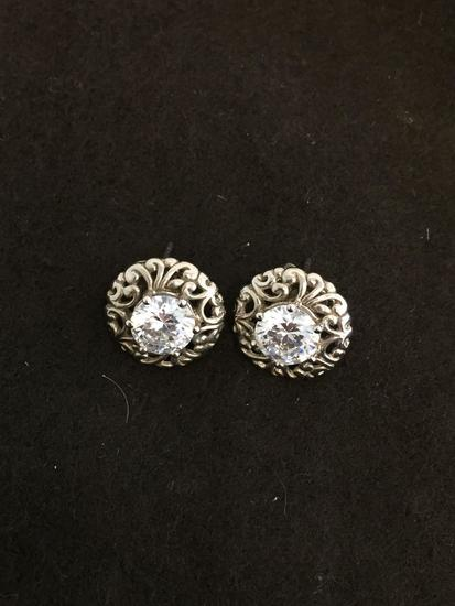 Round Faceted 7.0mm Zircon Filigree Accented Pair of Sterling Silver Button Earrings