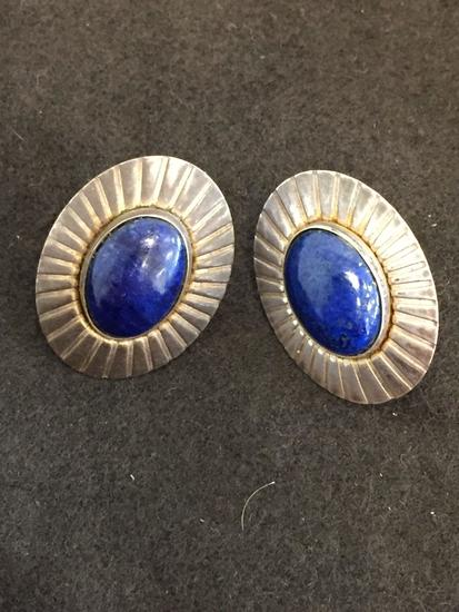 Oval Cabochon Fashioned Lapis Lazuli 25x19mm Pair of Sterling Silver Earrings