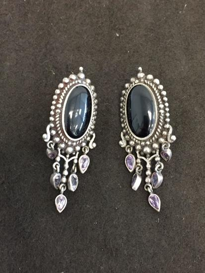 "Oval Onyx Cabochon Accented w/ Pear Faceted Zircon Vintage Style 2"" Long Pair of Sterling Silver"