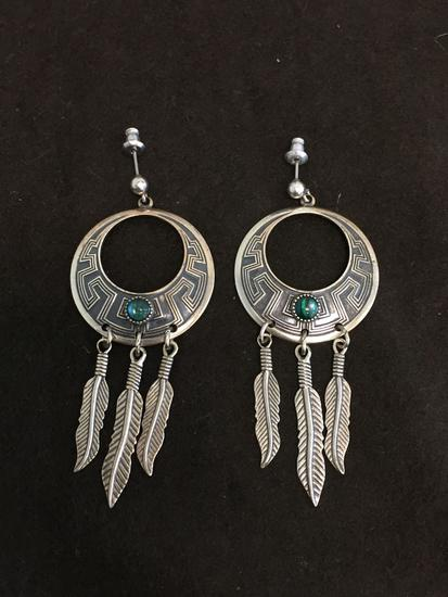 """Old Pawn Native American Styled Abalone Accented 2"""" Long Pair of Sterling Silver Chandelier Earrings"""