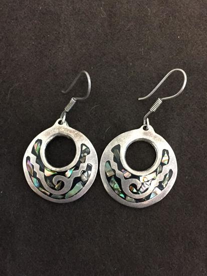 """Taxco Designed Abalone Inlaid Round 2"""" Long Old Pawn Mexico Styled Pair of Sterling Silver Earrings"""