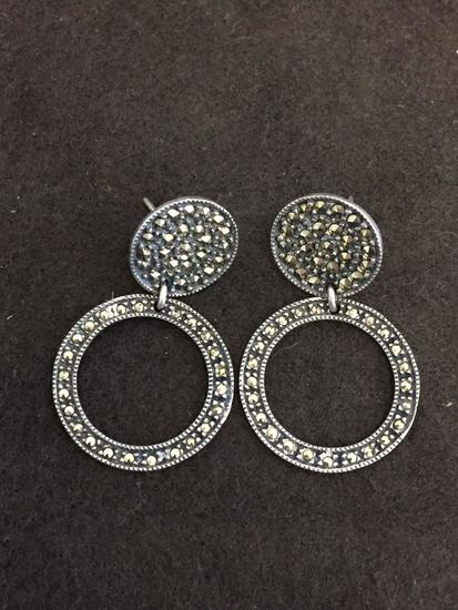"Two-Tier Marcasite Accented Round 1.5"" Long Pair of Sterling Silver Earrings"