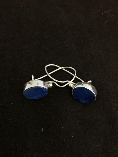 "Oval Sodalite Inlaid 1.5"" Long Pair of Sterling Silver Earrings"