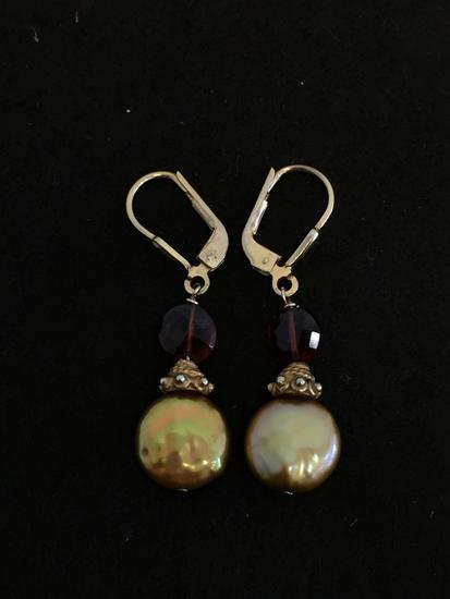 "Copper Colored Baroque Pearl w/ Garnet Accented Gold-Tone 1.5"" Long Pair of Sterling Silver Earrings"