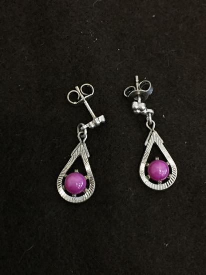 "Anson Designed Pink Star Sapphire Cabochon Diamond Cut Accented Halo 1"" Long Pair of Sterling Silver"