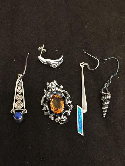 Lot of Five Single Mismatched Various Style Sterling Silver Earrings