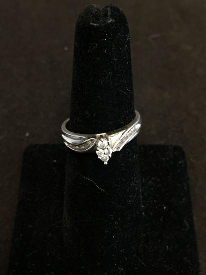 Marquise Shaped Diamond Cluster Center w/ Diamond Accents Sterling Silver Ring Band-Size 6