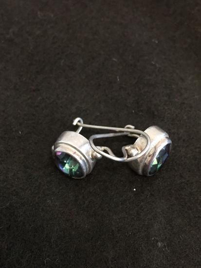 "Horizontal Bezel Set Oval Faceted Mystic Topaz 1"" Long Pair of Sterling Silver Earrings"