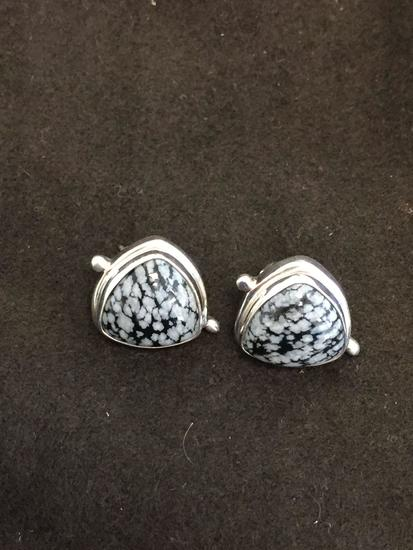 Triangular Cabochon Fashioned Snowflake Obsidian Pair of Sterling Silver Earrings
