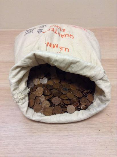 Bank Bag of 5,000 Vintage United States Wheat Pennies from Estate