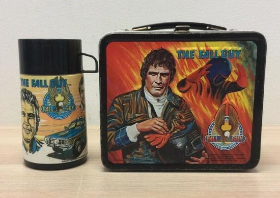 Vintage 1981 The Fall Guy Metal Lunch Box with Thermos Aladdin Lunchbox T7 CON 214