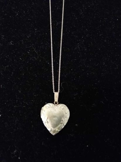 "Milgrain & Filigree Accented 1"" Long Sterling Silver Heart Locket Pendant w/ 18"" Chain"